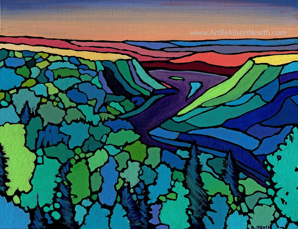 peace river valley painting sunset forest