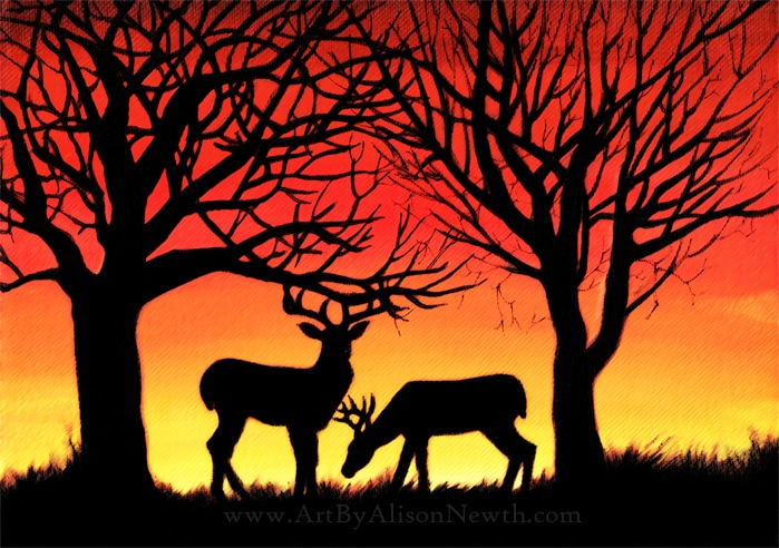 deer silhouette sunset painting