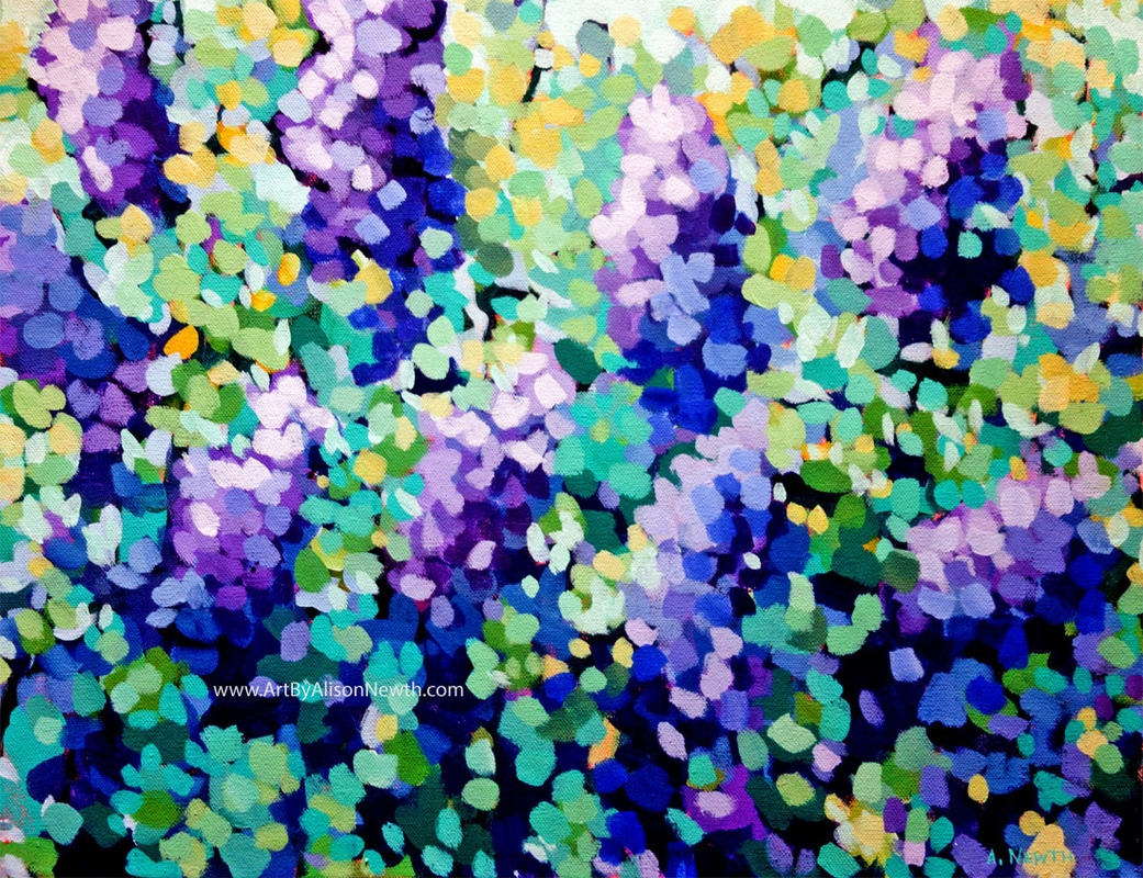 purple lilacs painting