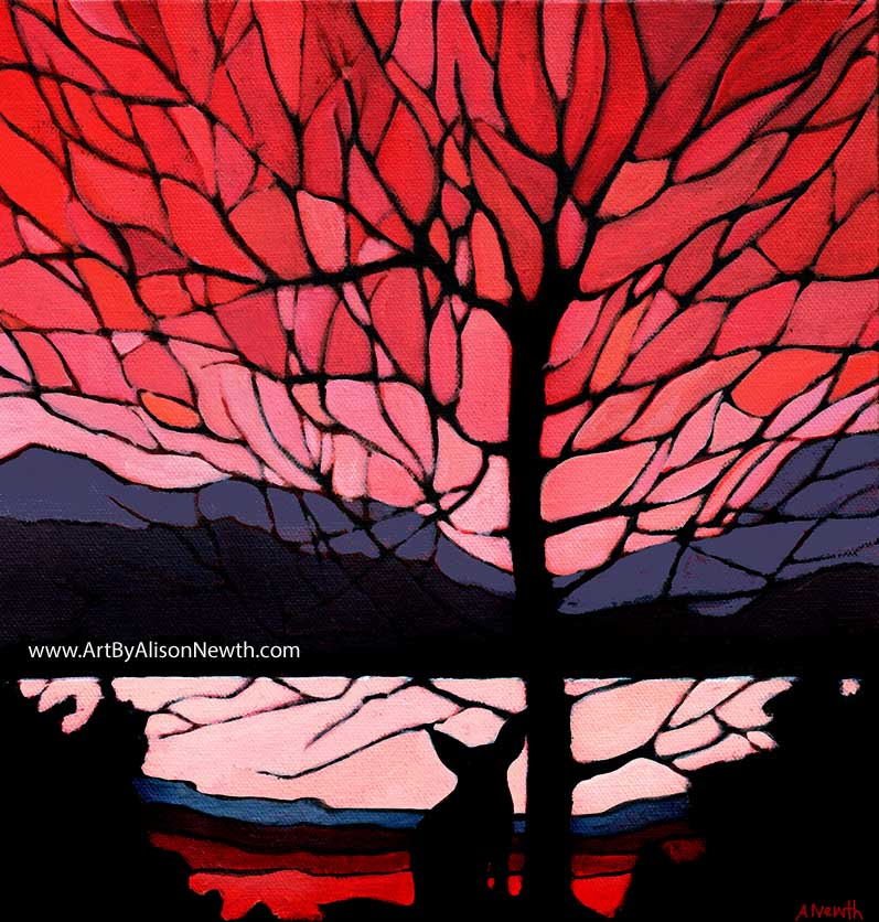 sunset silhouette fox tree painting pink red