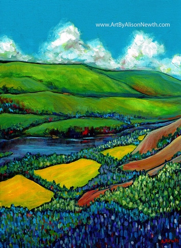 peace river valley painting, plein air, site c, canola fields