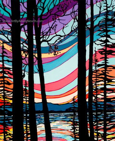 sunset silhouette, charlie lake painting, bright colours