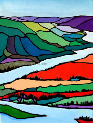 the peace river valley, old fort, painting